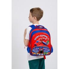 На фото 4 - Рюкзак для мальчика из текстиля, цвет синий с красным