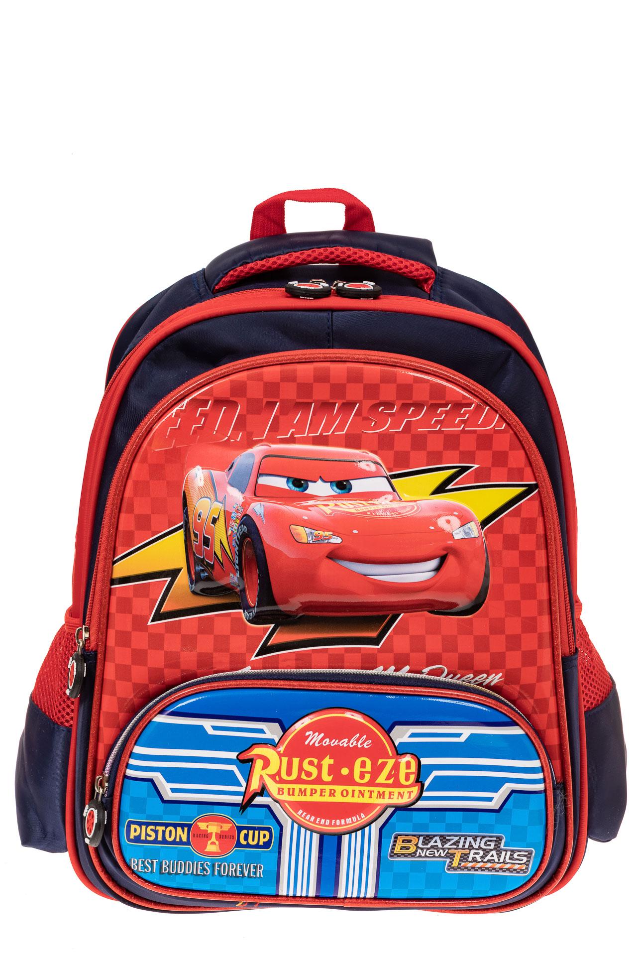 На фото 1 - Рюкзак для мальчика из текстиля, цвет красный с синим
