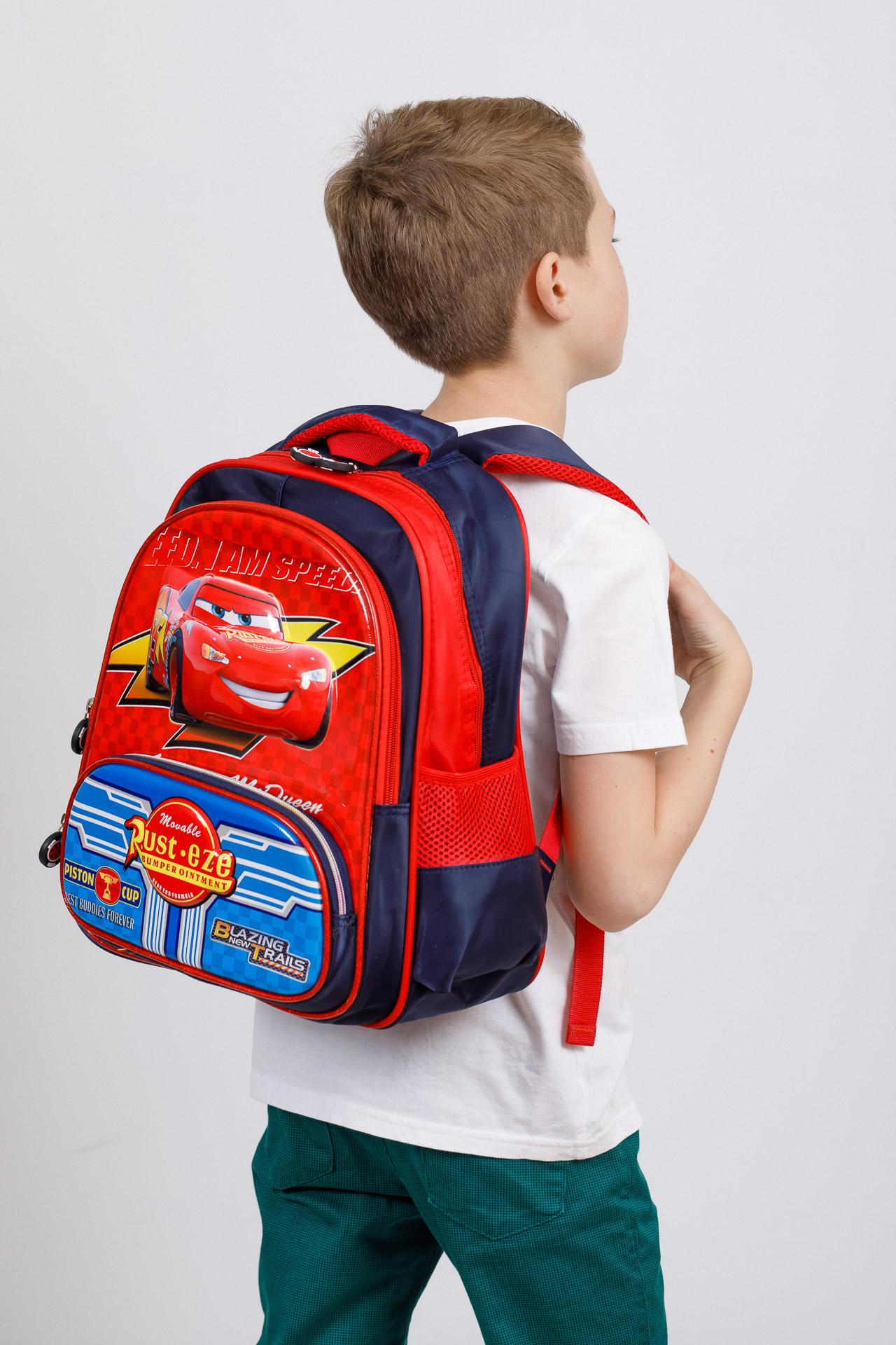 На фото 4 - Рюкзак для мальчика из текстиля, цвет красный с синим