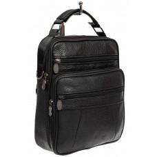На фото 1 - Мужская сумка через плечо из натуральной кожи, цвет чёрный