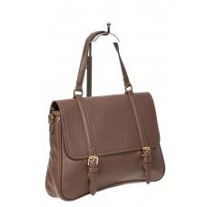 На фото 1 - Женская сумка сэтчел из искусственной кожи, коричневая