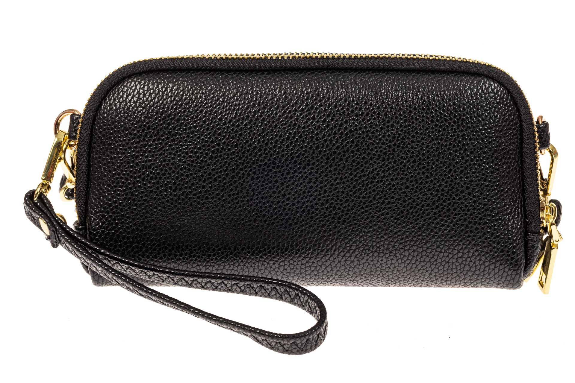 На фото 1 - Женский кошелек-клатч из искусственной кожи, цвет черный