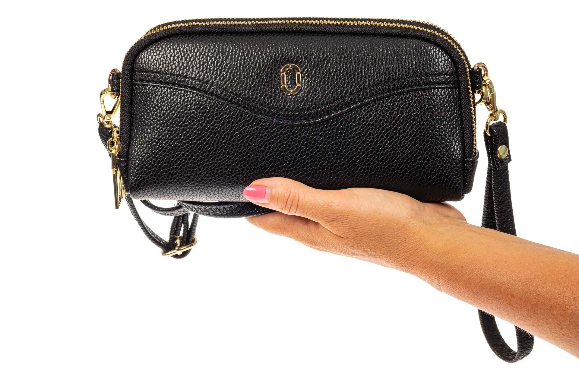 На фото 3 - Женский кошелек-клатч из искусственной кожи, цвет черный