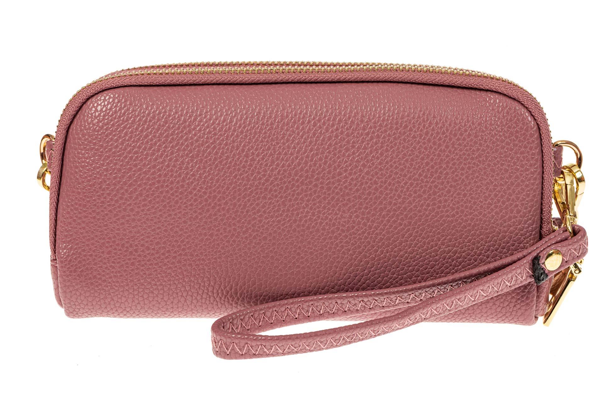 На фото 1 - Женский кошелек-клатч из искусственной кожи, цвет розовый