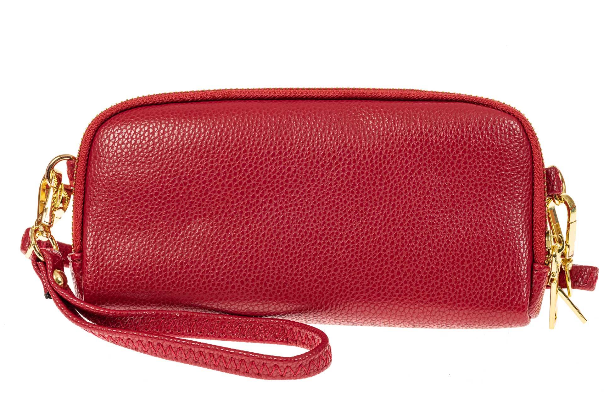 На фото 1 - Женский кошелек-клатч из искусственной кожи, цвет красный