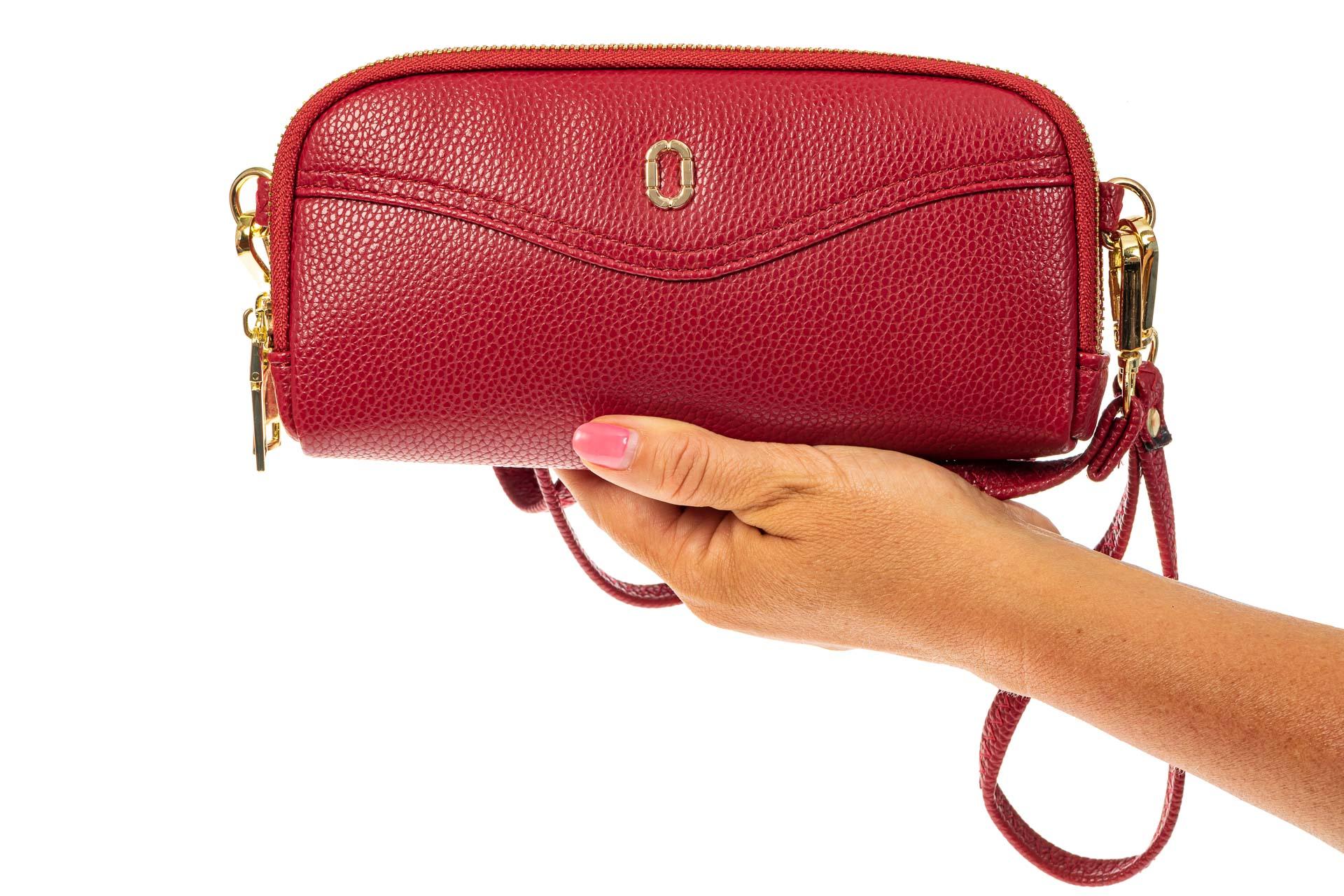 На фото 3 - Женский кошелек-клатч из искусственной кожи, цвет красный