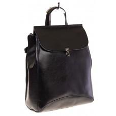 Купить оптом женский рюкзак из натуральной кожи, цвет черный, фото
