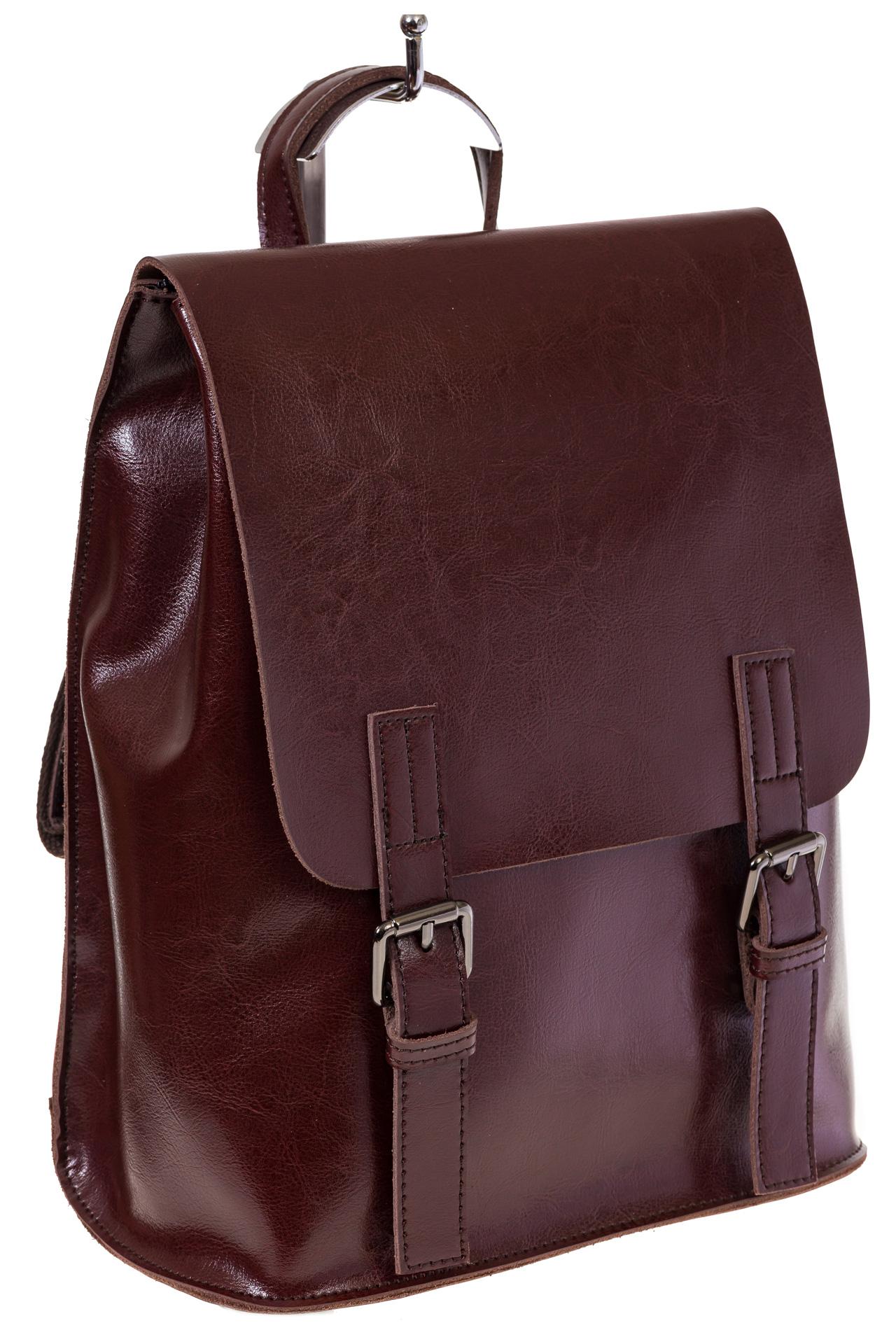 Купить оптом женский универсальный рюкзак из кожи, цвет бордово-шоколадный, фото