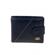 На фото 1 - Мужской кошелёк из экокожи с белой строчкой, цвет чёрный