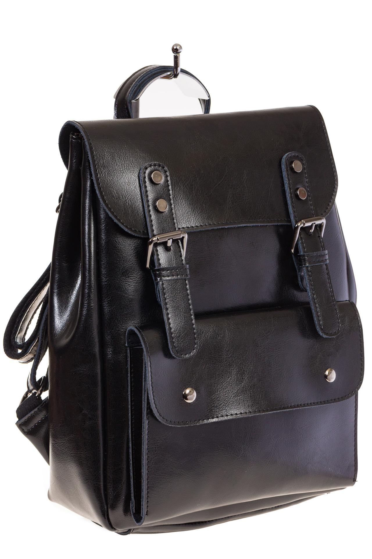 Купить оптом рюкзак из натуральной кожи с верхним клапаном, цвет черный, фото