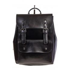 Купить оптом рюкзак из натуральной кожи с верхним клапаном, цвет черный, фото спереди
