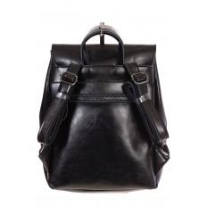Купить оптом рюкзак из натуральной кожи с верхним клапаном, цвет черный, фото сзади