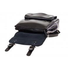 Купить оптом рюкзак из натуральной кожи с верхним клапаном, цвет черный, фото изнутри
