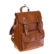 Купить оптом рюкзак из натуральной кожи с верхним клапаном, цвет коньячный, фото
