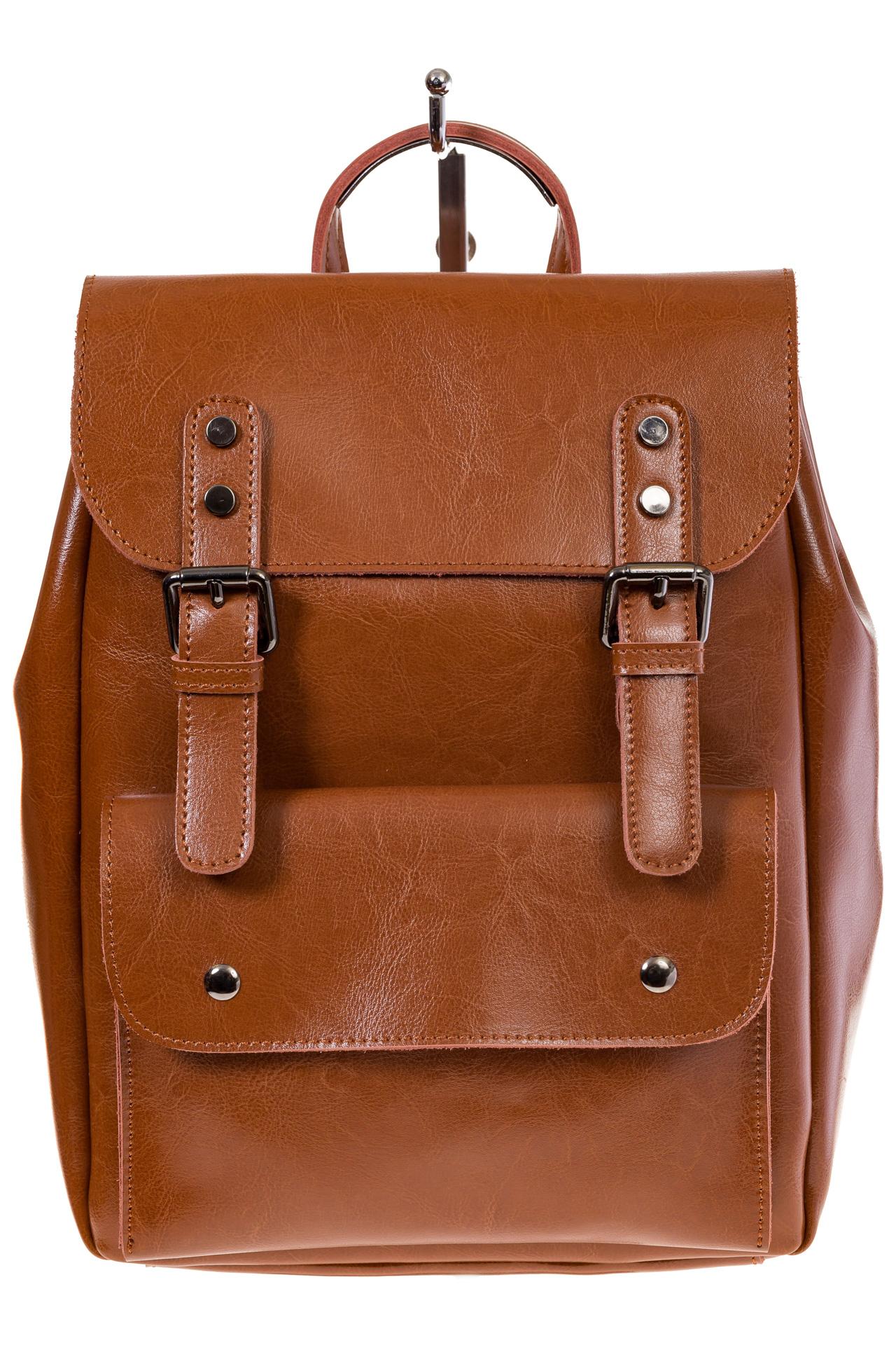 Купить оптом рюкзак из натуральной кожи с верхним клапаном, цвет коньячный, фото спереди