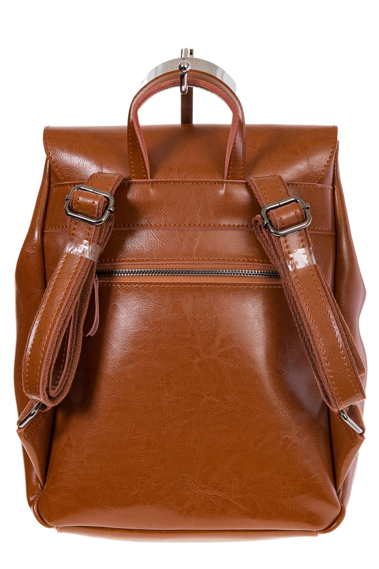 Купить оптом рюкзак из натуральной кожи с верхним клапаном, цвет коньячный, фото сзади