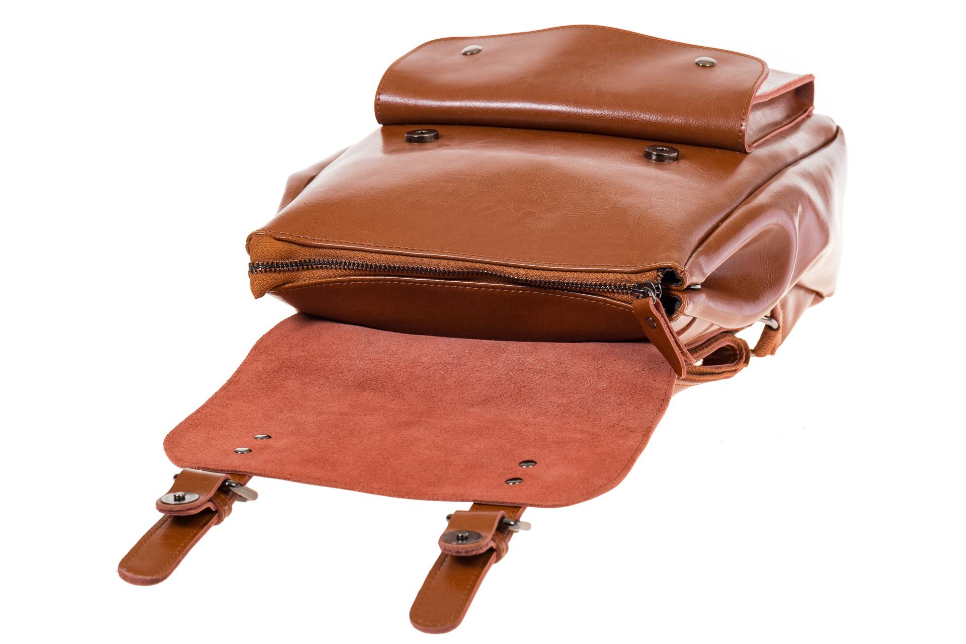 Купить оптом рюкзак из натуральной кожи с верхним клапаном, цвет коньячный, фото изнутри