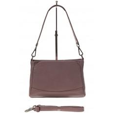 На фото 2 - Классическая женская сумка из натуральной кожи, цвет пудра