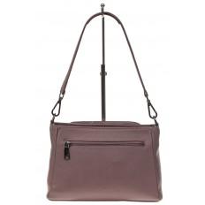 На фото 3 - Классическая женская сумка из натуральной кожи, цвет пудра