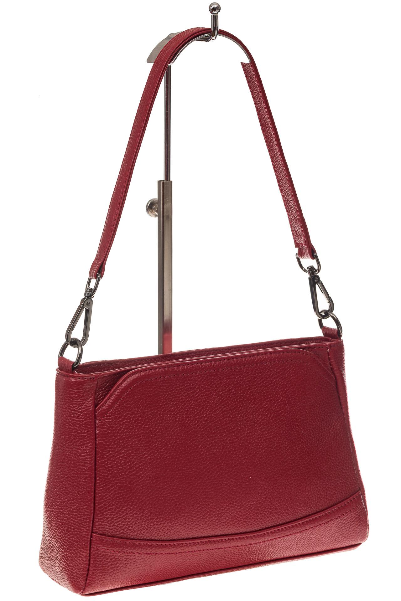 На фото 1 - Классическая женская сумка из натуральной кожи, цвет красный