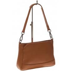 На фото 1 - Классическая женская сумка из натуральной кожи, цвет рыжий
