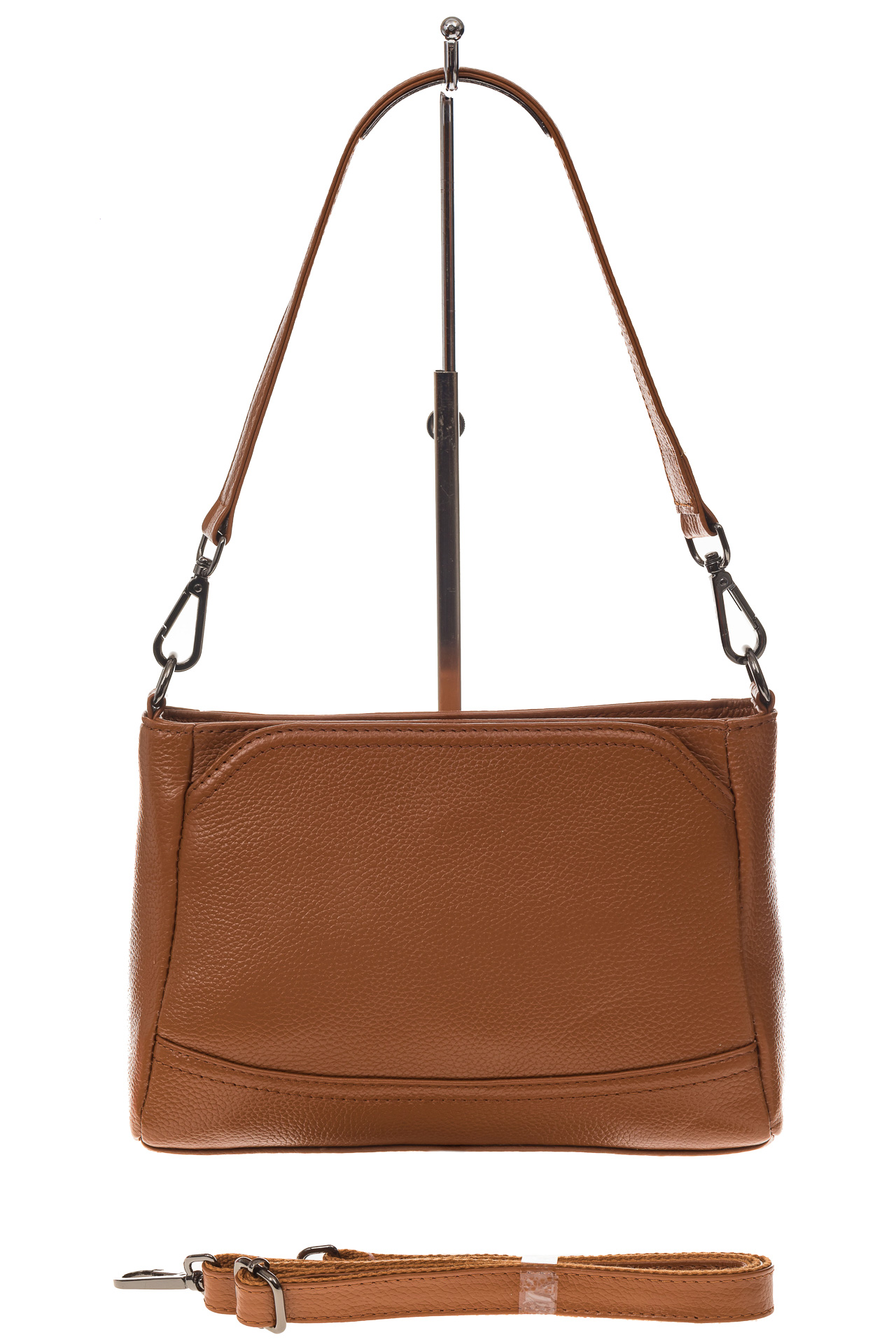 На фото 2 - Классическая женская сумка из натуральной кожи, цвет рыжий