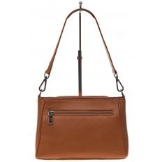 На фото 3 - Классическая женская сумка из натуральной кожи, цвет рыжий