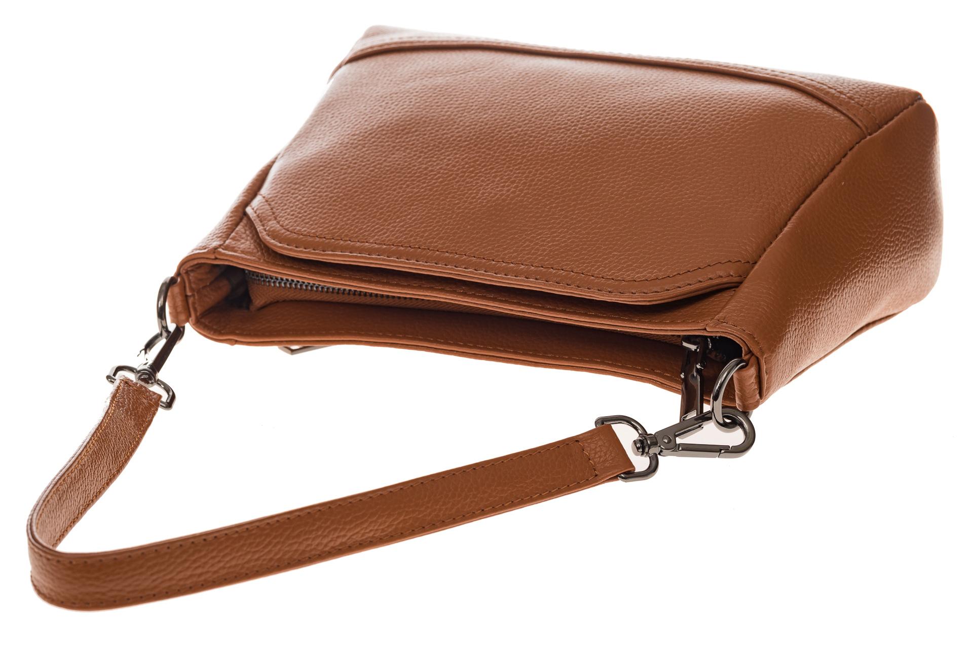 На фото 4 - Классическая женская сумка из натуральной кожи, цвет рыжий