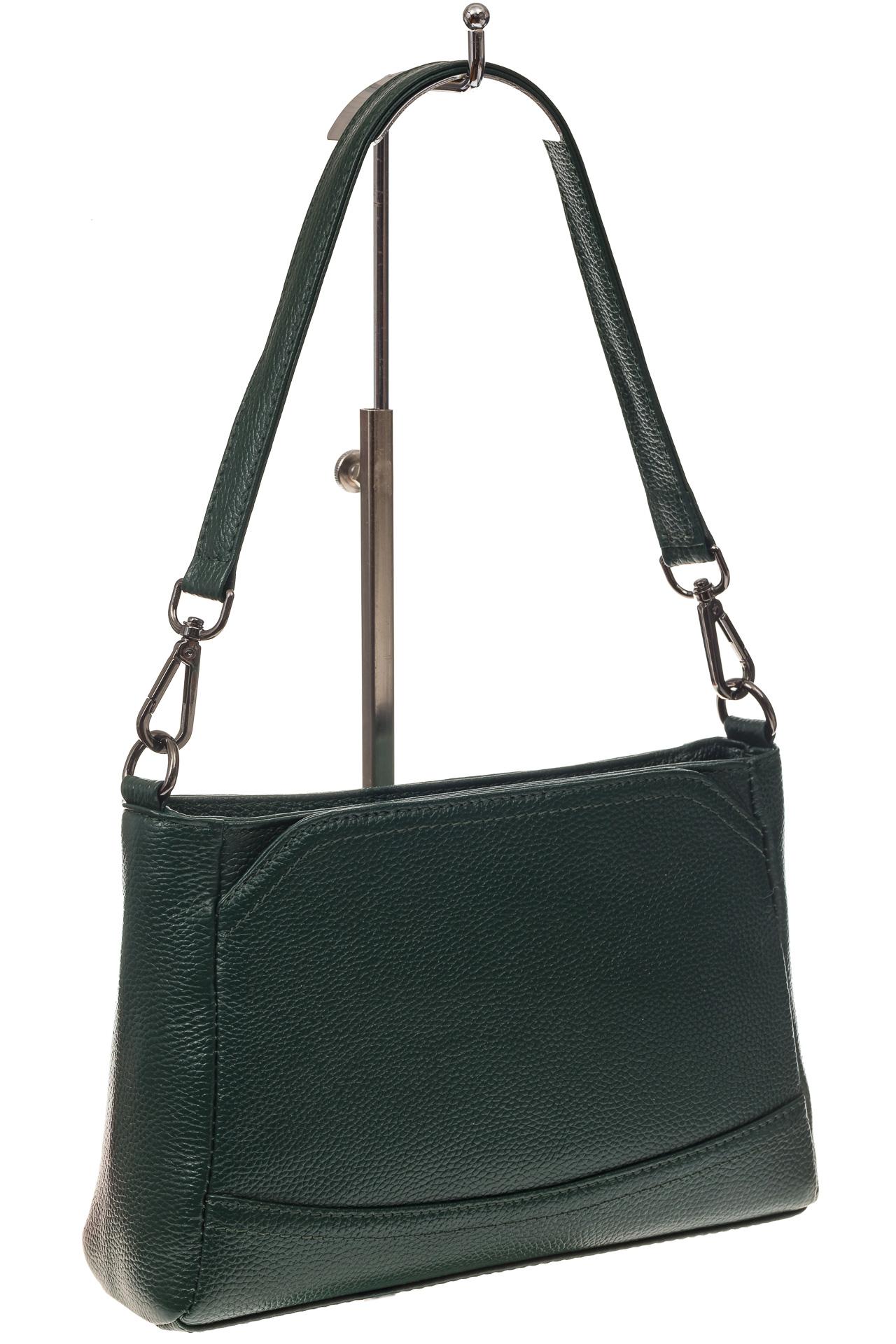 На фото 1 - Классическая женская сумка из натуральной кожи, цвет зеленый