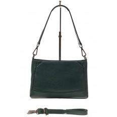 На фото 2 - Классическая женская сумка из натуральной кожи, цвет зеленый