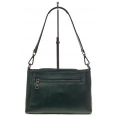 На фото 3 - Классическая женская сумка из натуральной кожи, цвет зеленый