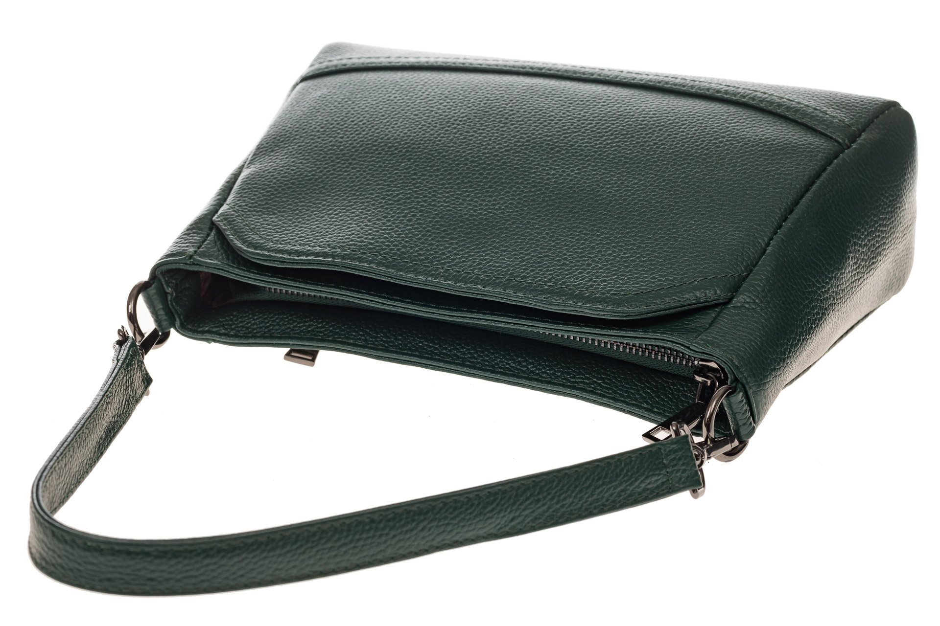 На фото 4 - Классическая женская сумка из натуральной кожи, цвет зеленый
