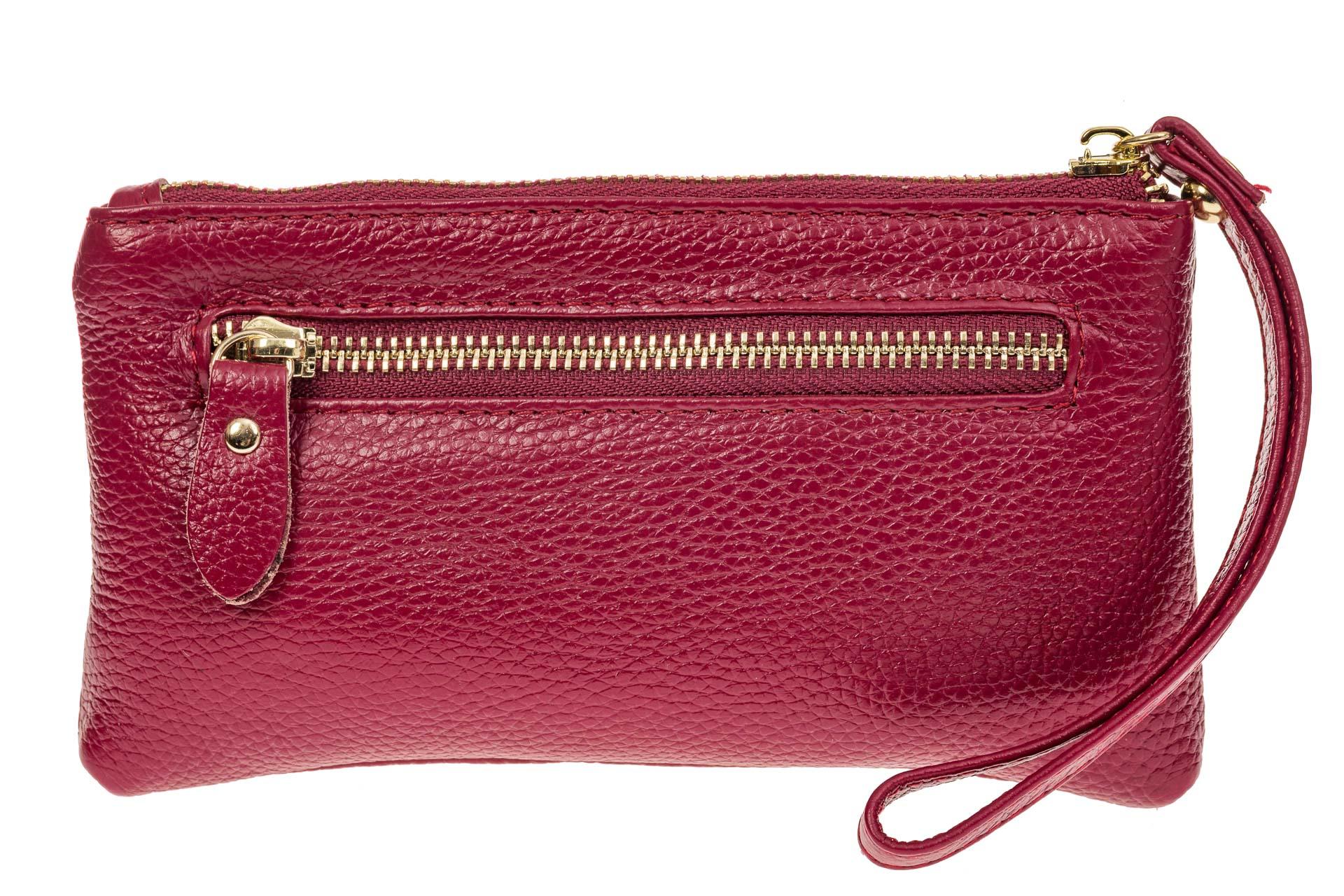 На фото 1 - Портмоне для женщин из натуральной кожи, цвет бордовый