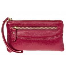 На фото 2 - Портмоне для женщин из натуральной кожи, цвет бордовый