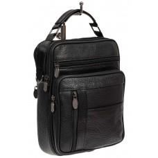 На фото 1 - Мужская сумка для документов из фактурной натуральной кожи, цвет чёрный