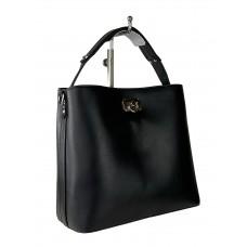 На фото 1 - Летняя женская сумка тоут из гладкой экокожи, цвет чёрный