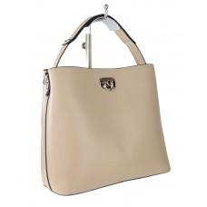 На фото 1 - Летняя женская сумка тоут из гладкой экокожи, цвет пудровый