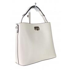 На фото 1 - Летняя женская сумка тоут из гладкой экокожи, цвет белый