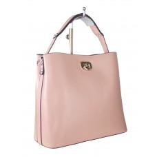 На фото 1 - Летняя женская сумка тоут из гладкой экокожи, цвет розовый
