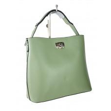 На фото 1 - Летняя женская сумка тоут из гладкой экокожи, цвет светло-зелёный