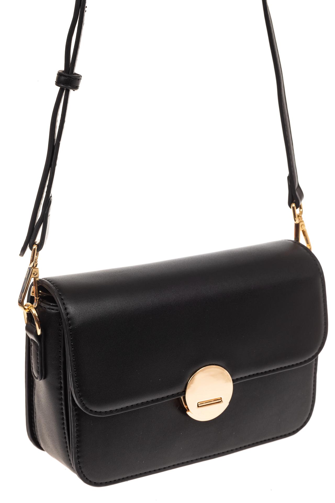 На фото 1 - Каркасная сумка-малышка из эко-кожи, цвет черный