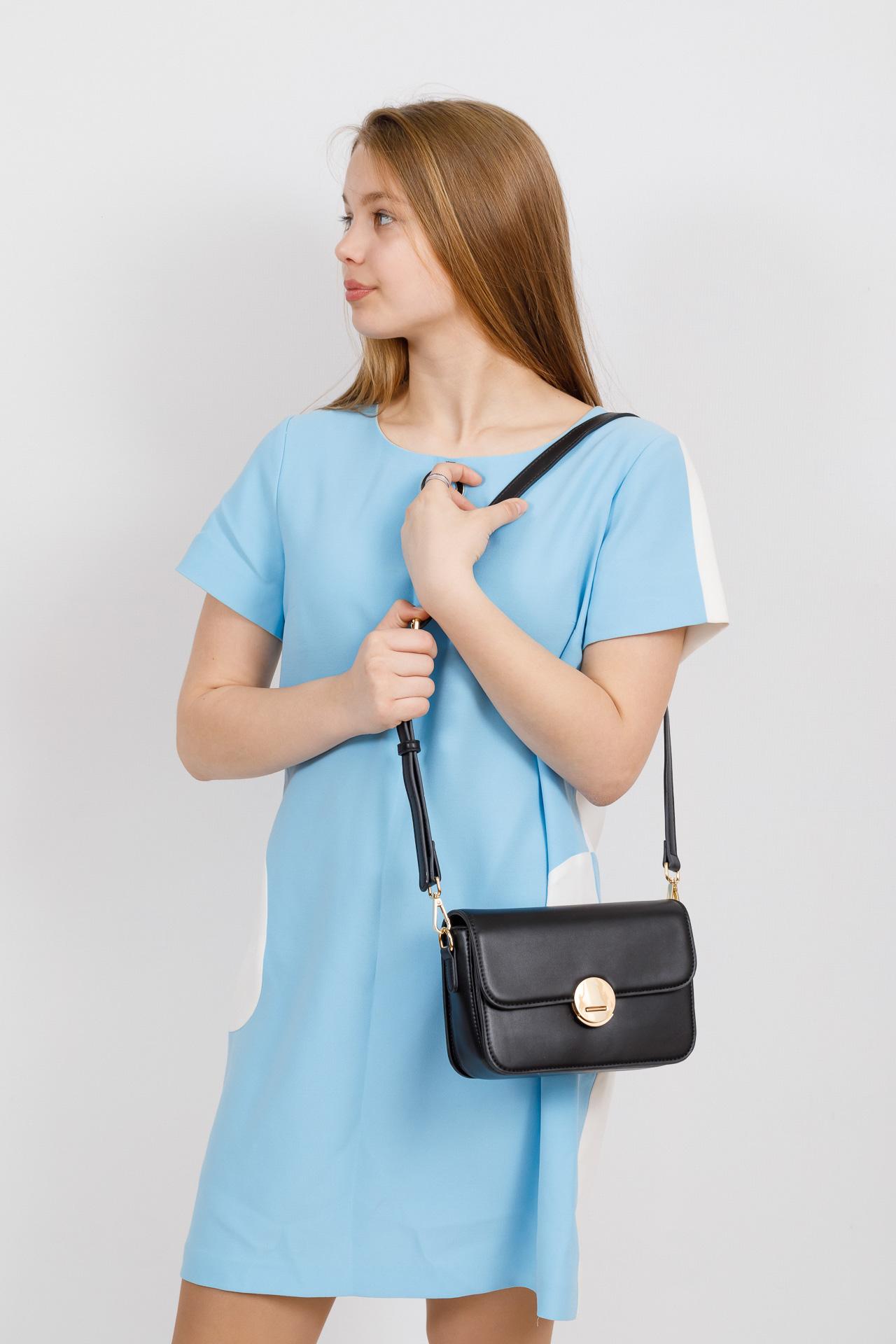 На фото 4 - Каркасная сумка-малышка из эко-кожи, цвет черный
