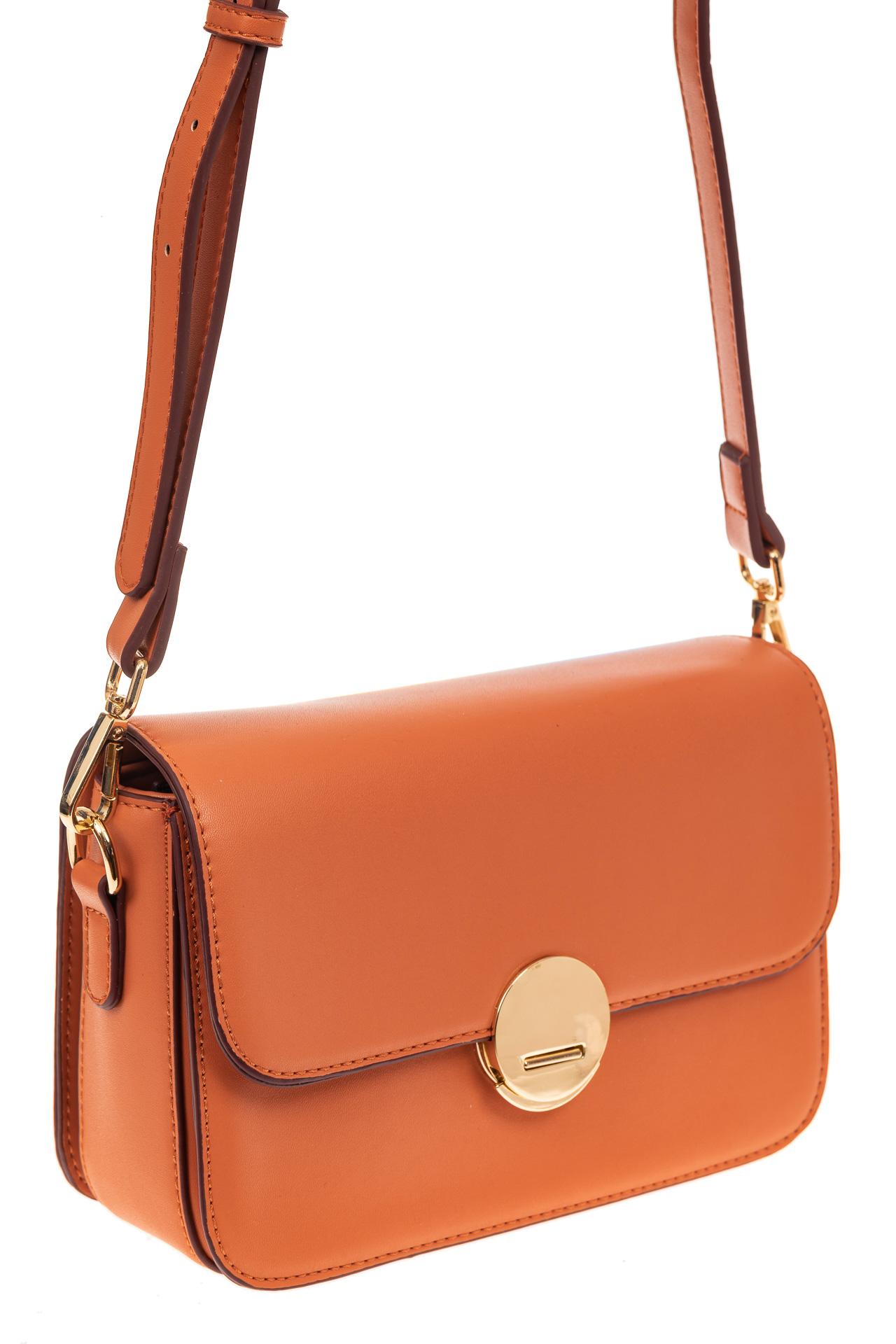 На фото 1 - Каркасная сумка-малышка из эко-кожи, цвет оранжевый