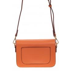 На фото 2 - Каркасная сумка-малышка из эко-кожи, цвет оранжевый