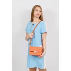 На фото 4 - Каркасная сумка-малышка из эко-кожи, цвет оранжевый