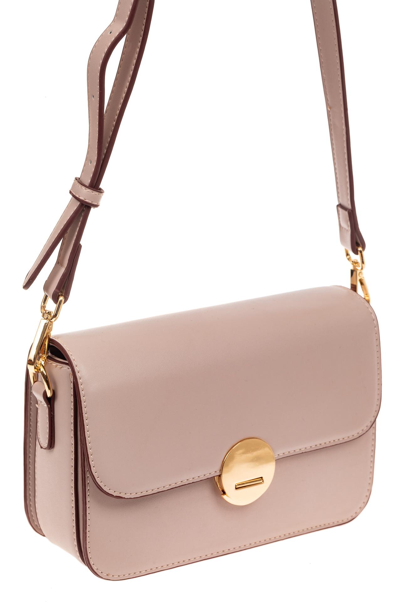 На фото 1 - Каркасная сумка-малышка из эко-кожи, цвет пудра