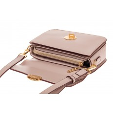 На фото 3 - Каркасная сумка-малышка из эко-кожи, цвет пудра