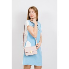 На фото 4 - Каркасная сумка-малышка из эко-кожи, цвет пудра
