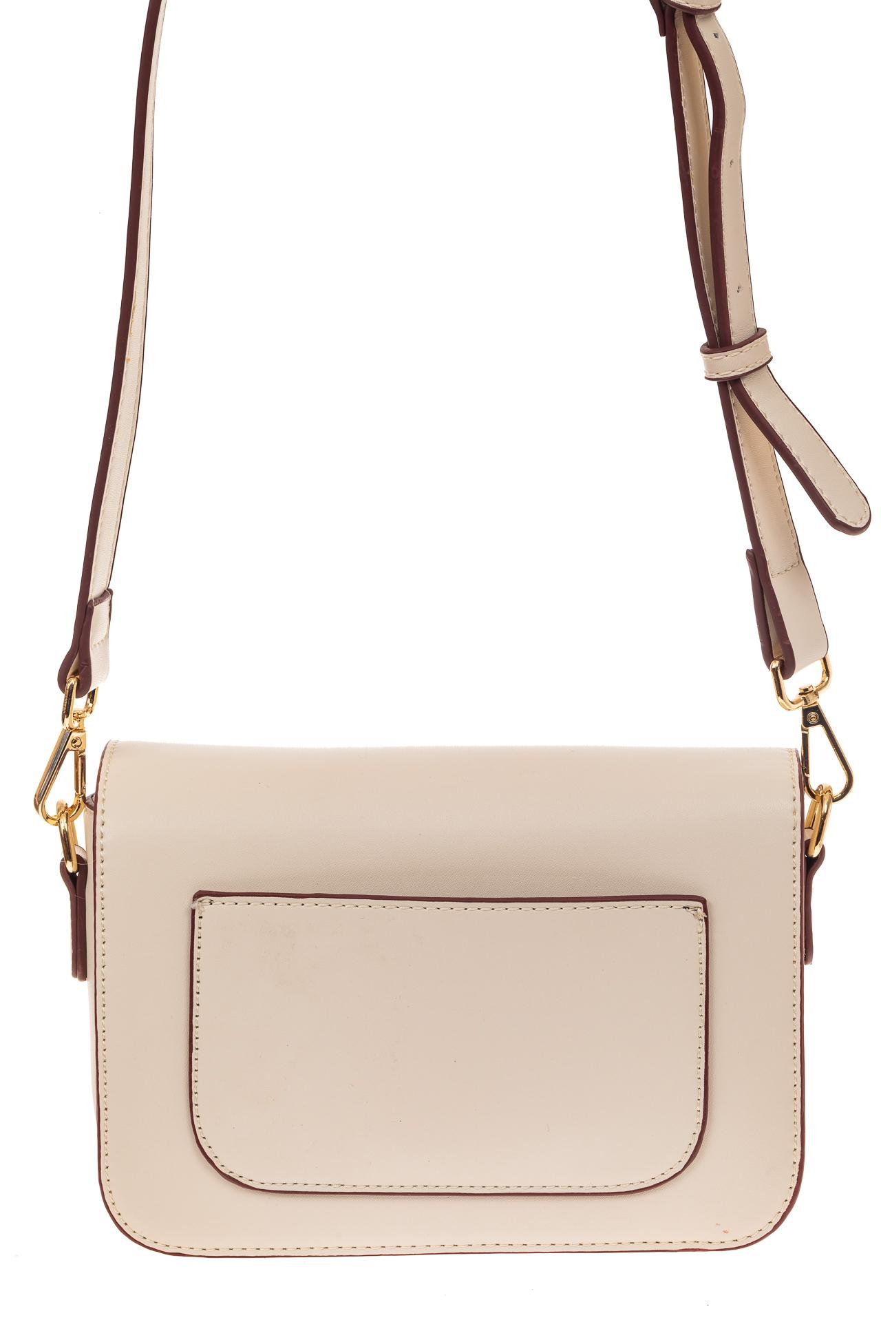 На фото 2 - Каркасная сумка-малышка из эко-кожи, цвет молочный