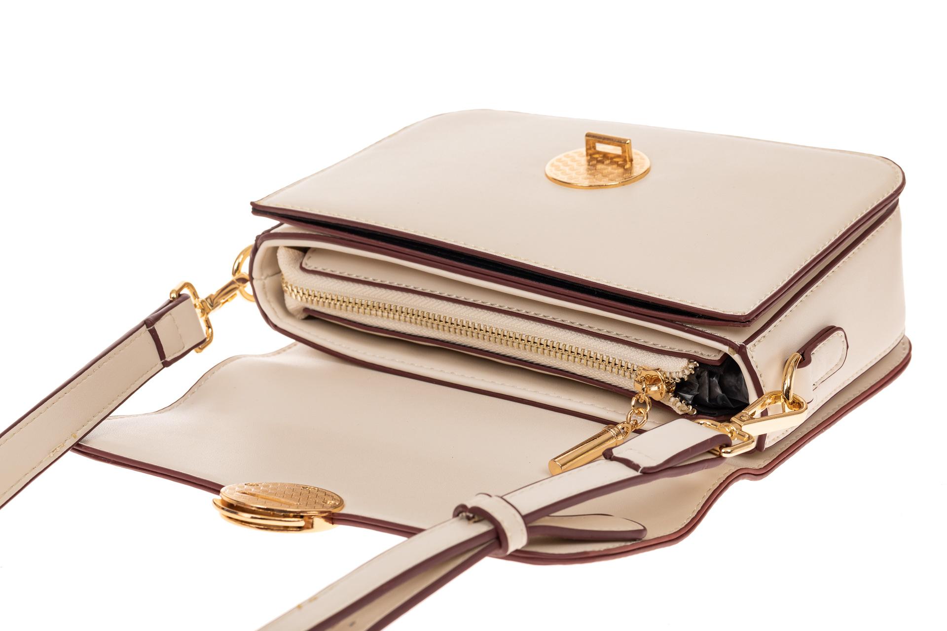 На фото 3 - Каркасная сумка-малышка из эко-кожи, цвет молочный